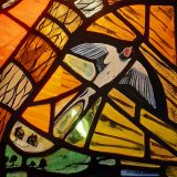 A Swallow, a detail of the Sunrise Stained glass